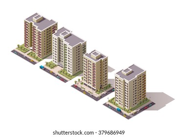 Vector isometric icon set or infographic elements representing low poly town apartment buildings and houses with street roads and cars for city map creation