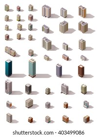 Vector isometric icon set or infographic elements of the low poly buildings, skyscrapers, houses, offices and stores for city or town map creation