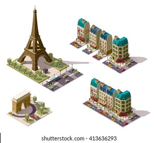 Vector isometric icon set or infographic elements representing Paris (France) architecture - old buildings, houses, Eiffel tower, restaurant, shops, hotel,  triumphal arch