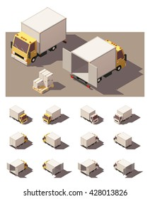 Vector Isometric icon set or infographic elements representing box truck with open and closed doors. Each vehicle in four views with different shadows. Low poly style