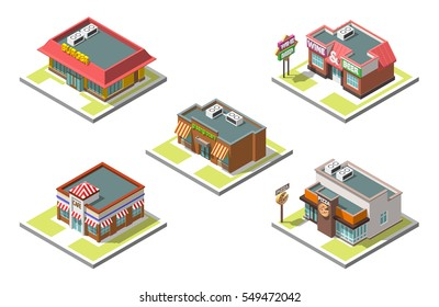 Vector isometric icon set infographic 3d buildings