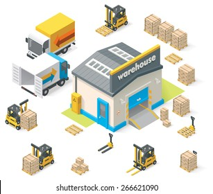 Vector isometric icon set representing warehouse building, truck, forklift loading  goods in crates