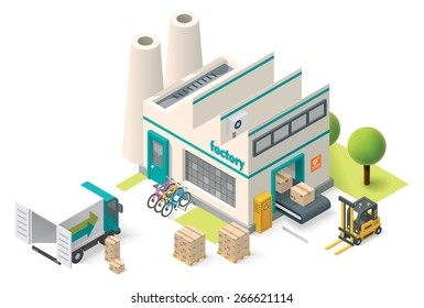 Vector isometric icon set representing factory building with pipes, truck, goods coming from conveyor and  forklift