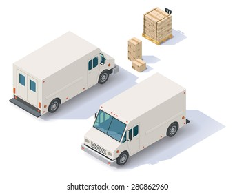 Vector isometric icon set representing delivery step van with front end rear view, boxes, forklift