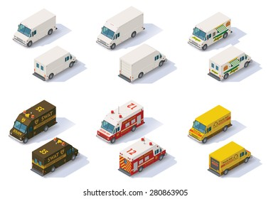 Vector isometric icon set representing different types of commercial and emergency step vans