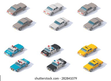 Vector isometric icon set representing private, police cars and taxi cab with front and rear views