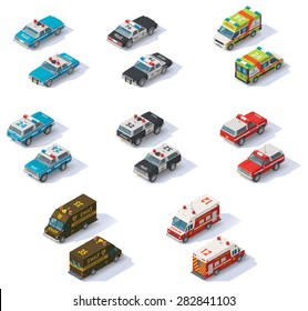 Vector isometric icon set representing emergency services cars with front and rear views. Police SUV, police interceptor, highway patrol, ambulance, SWAT