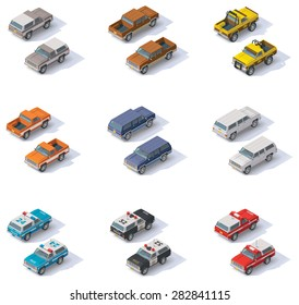 Vector isometric icon set representing cars - pickup truck and SUV. Front and back projections