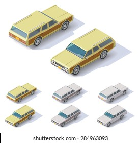 Vector isometric icon set representing  passenger wagon car with front and rear views