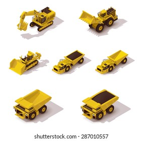 Vector isometric icon set representing heavy mining machinery - excavator, tractor, dump truck, bulldozer, loader and other vehicles