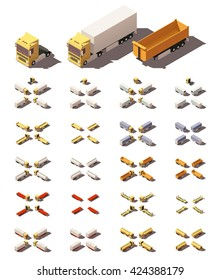 Vector Isometric icon set representing trucks or tractors with semi-trailers in four views with different shadows. Included different types of trailers