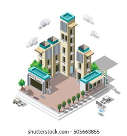 Vector isometric icon set representing city buildings, houses and shops