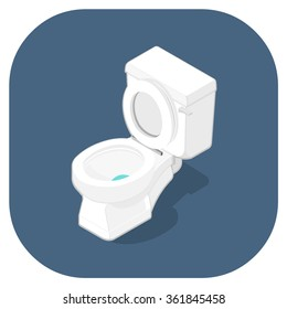 A vector isometric Icon of a toilet lavatory.  Isometric Toilet vector icon illustration. Bathroom Hygiene Concept.