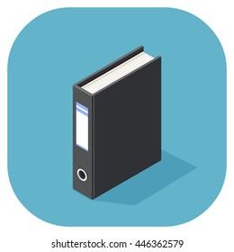 Vector isometric illustration of an isometric A4 size folder. Document Ring Binder Folder.