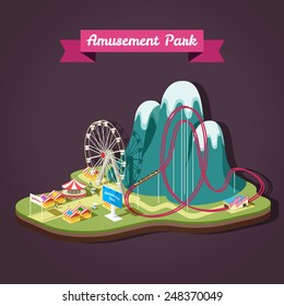 Vector isometric illustration of Amusement Park with different attractions.