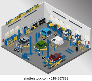 Vector isometric illustration of automotive and tire fitting service, car lifts, wheel changer and wheel balancers. Equipment for automotive service.