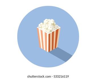 Vector isometric illustration of box with popcorn, cinema food icon