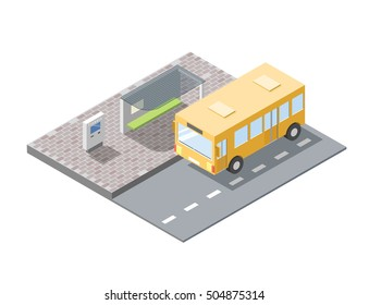 Vector isometric illustration of bus station with ticket sell terminal, city public transport, road element, 3d flat design, yellow bus icon