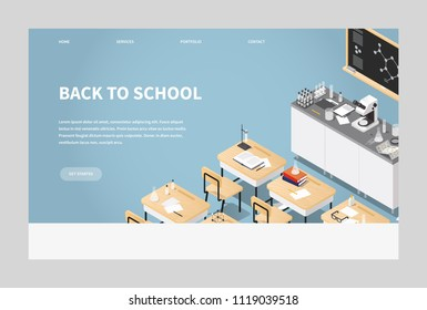 Vector isometric illustration of chemistry class landing page. Classroom laboratory with necessary equipment, student's desks, chairs blackboard, microscope, test tubes and flasks, books. Web banner.
