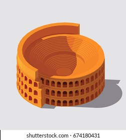 Vector isometric illustration of Colosseum. Ancient Rome building icon. Gaming and infographic design.