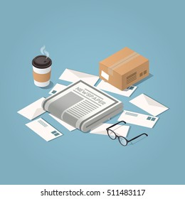 Vector isometric illustration concept of morning mail delivery. Letters, morning newspaper, glasses, cup of hot coffee, cardboard box.