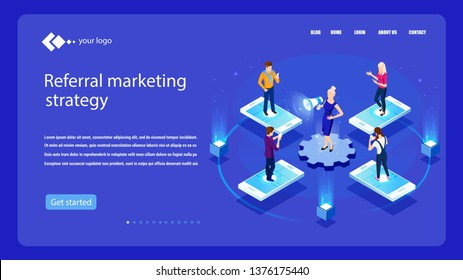 Vector isometric illustration. Concept Referral marketing. Isometric concept. Social media, network marketing, partnership. Digital E-marketing.  Analytics, strategy. Referring mechanism. Campaign