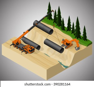 Vector isometric illustration describing the pipeline construction process, using a mobile crane and a excavator.