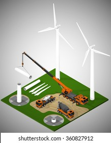 Vector isometric illustration describing a wind farm under construction. Pouring the foundation, installation of towers, installation of components of the turbine.