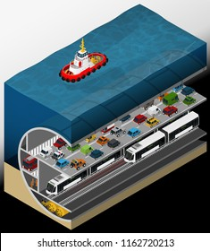 Vector isometric illustration of an element of urban infrastructure consisting of a subway tunnel and underground car tunnel.