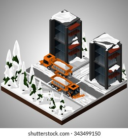 Vector isometric illustration of an element of urban infrastructure. Snowplow machines clean the roadway. Front and rear view. Equipment for maintenance of urban infrastructure.