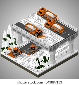 Vector isometric illustration of an element of urban infrastructure. Snowplow machines clears snow from the road interchange. Equipment for maintenance of urban infrastructure.