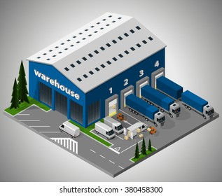 Vector isometric illustration of exterior of warehouse and unloading of delivery vehicles. Equipment for cargo delivery.