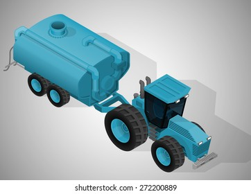 Vector isometric illustration of a farm tractor with liquid manure spreaders. Equipment for agriculture.