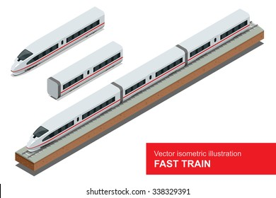 Vector isometric illustration of a Fast Train.  Vehicles designed to carry large numbers of passengers. Isolated vector of modern high-speed-train.