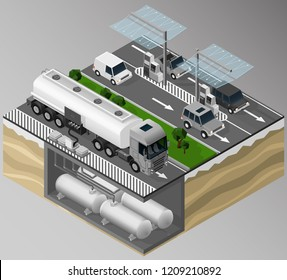 Vector isometric illustration of filling, gas station and the surrounding road infrastructure. Fuel offloaded from a tanker truck into the tanks.