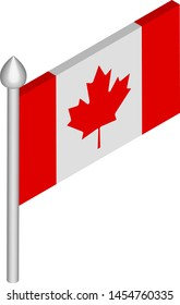Vector Isometric Illustration of Flagpole with Canada Flag