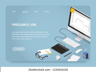 Vector isometric illustration of freelancer workspace. Desktop computer with graphic design software, graphics tablet with pen, papers, sketches, pencil, glasses. Freelance job landing page concept.