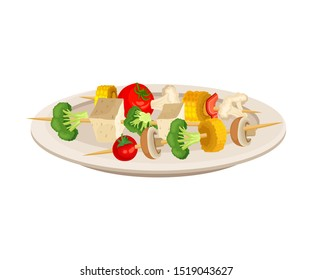 Vector Isometric Illustration Of Grilled Vegetables On Skewers Isolated On White Background