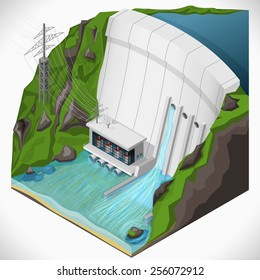 Vector isometric illustration of a hydroelectric power station. Extraction of energy from renewable sources.