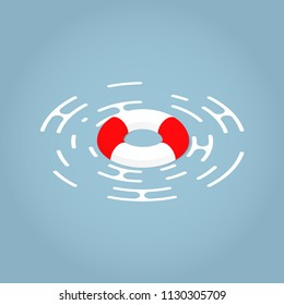 Vector isometric illustration of a lifebuoy floating on a surface. Red and white lifebuoy Emergency assistance to a customer concept.