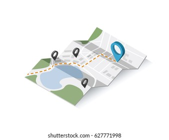 Vector isometric illustration of map with geo tag pin icon. Travel location sign