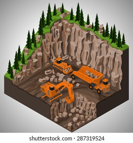 Vector isometric illustration of a mining quarry, heavy-duty dumper and a two types of mining tracked excavators. Equipment for high-mining industry.