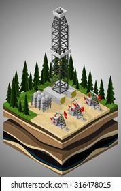 Vector isometric illustration of a oil drilling rig and pumpjacks on oil field development. Equipment for oil and gas industry.