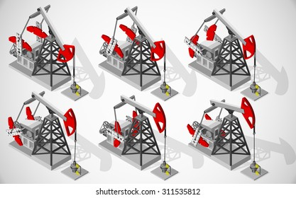 Vector isometric illustration of oil pumping unit for mechanically lift liquid out of the well. Equipment for oil and gas industry.