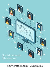 Vector isometric illustration on social network theme with people icons