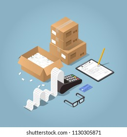 Vector isometric illustration of paying for delivered purchases. Credit card machine printing large receipt with ceding card laying nearby, cardboard boxes, pad with delivery form and signing pencil.