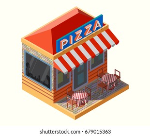 Vector isometric illustration of a pizza place, with chairs and tables on its terrace.