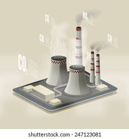 Vector isometric illustration of a plant polluting air. Environmental pollution infographic.