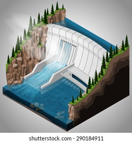 Vector isometric illustration of a river hydroelectric power station. Extraction of energy from renewable sources.