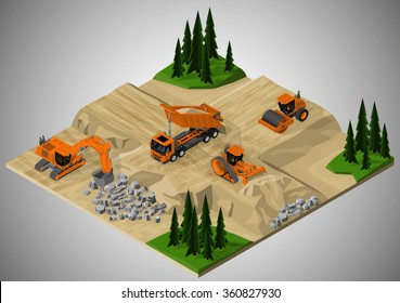 Vector isometric illustration of road construction and machinery involved. Dump truck, bulldozer, road roller and crawler excavator.